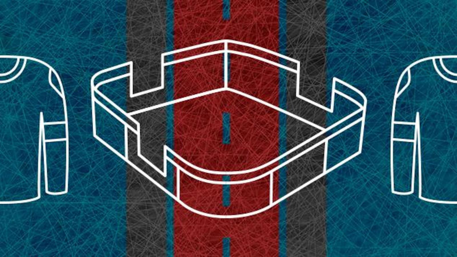 Illustration d'une improvisoire et de deux chandails de hockey.