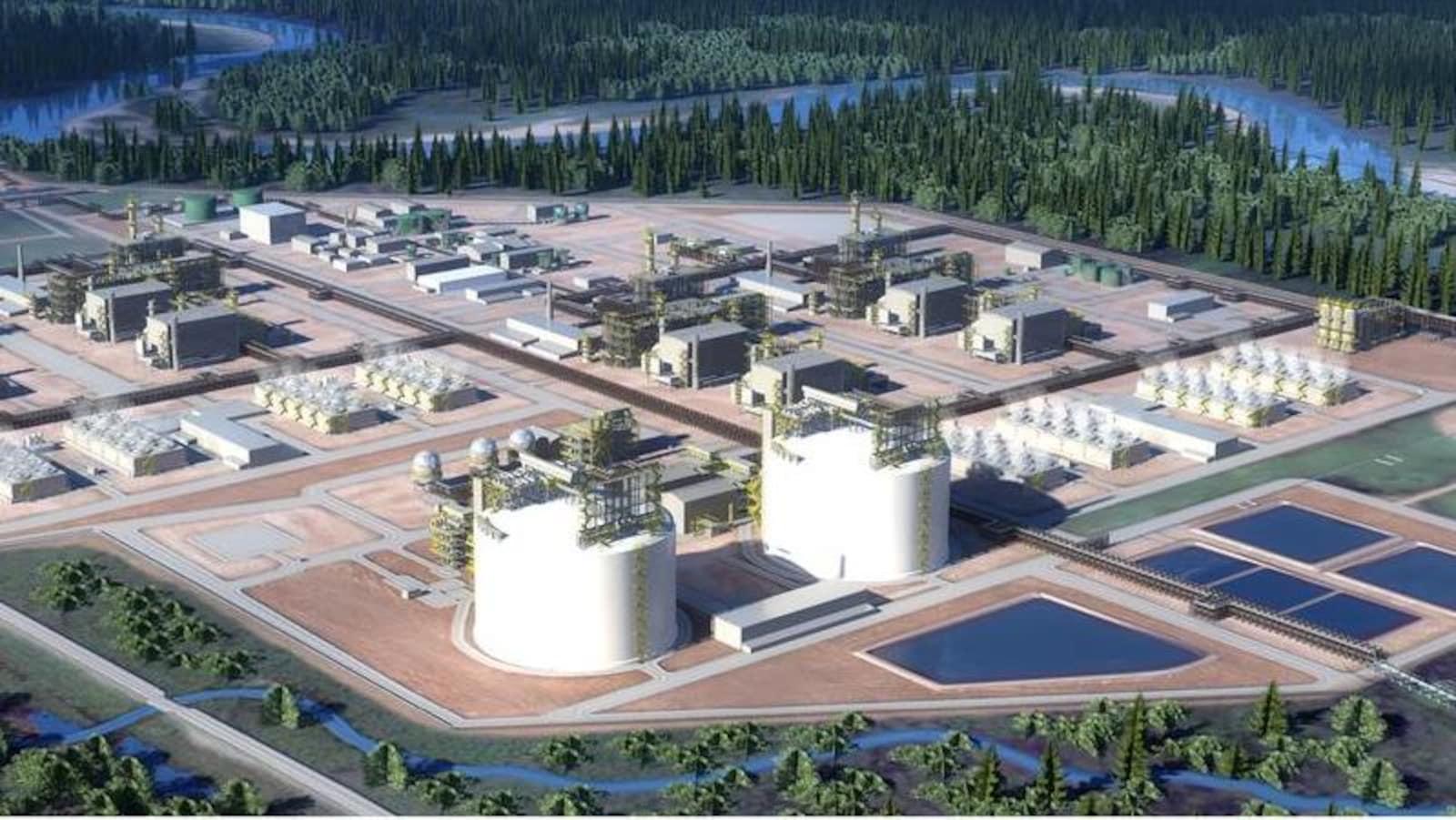 Une représentation du projet de construction d'une usine de gaz naturel liquéfié dans le nord de la Colombie-Britannique.
