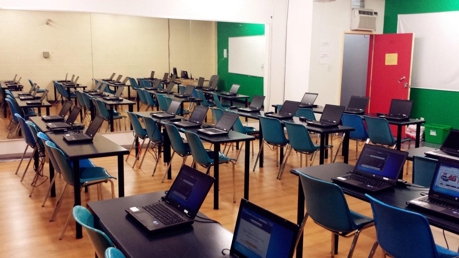 Un local de cours de l'Institut MATCI, rue Sainte-Catherine Ouest, à Montréal.