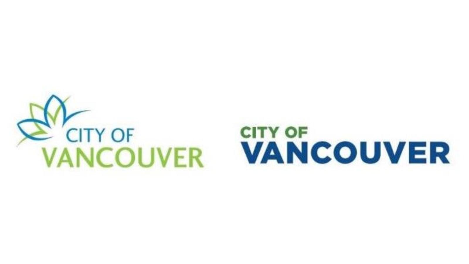 L'ancien logo de Vancouver à gauche et le nouveau à droite
