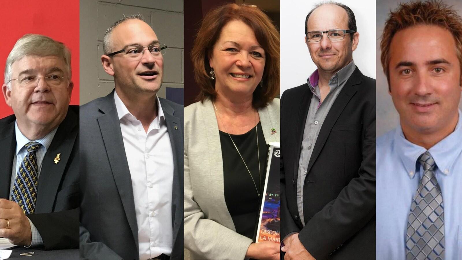 Un montage photo présente les maires des cinq principales villes de l'Abitibi-Témiscamingue.