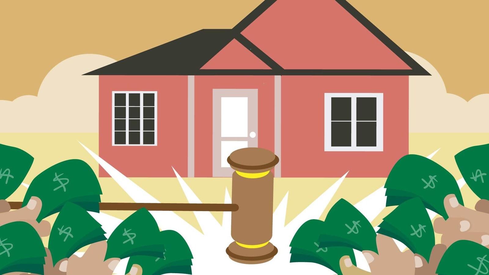 Illustration d'une demeure derrière des billets de banque et un maillet de justice.
