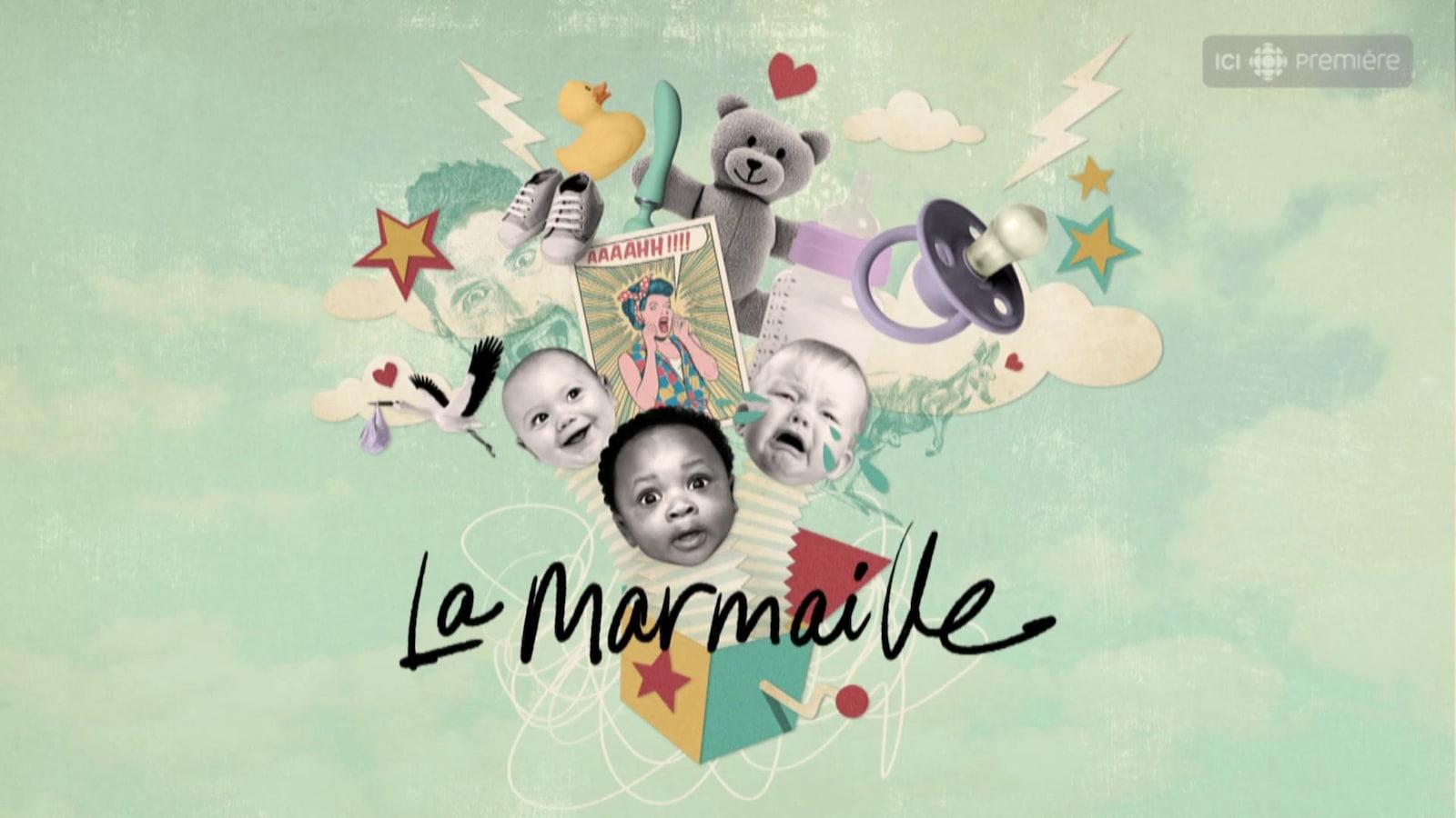 Page titre du balado, la marmaille. Graphique représentant des bébés et des accessoires qui sortent d'une boite à surprise.