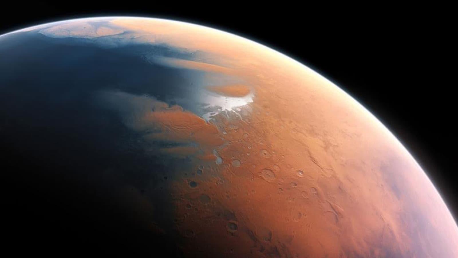 Représentation artistique d'un océan à la surface de Mars.
