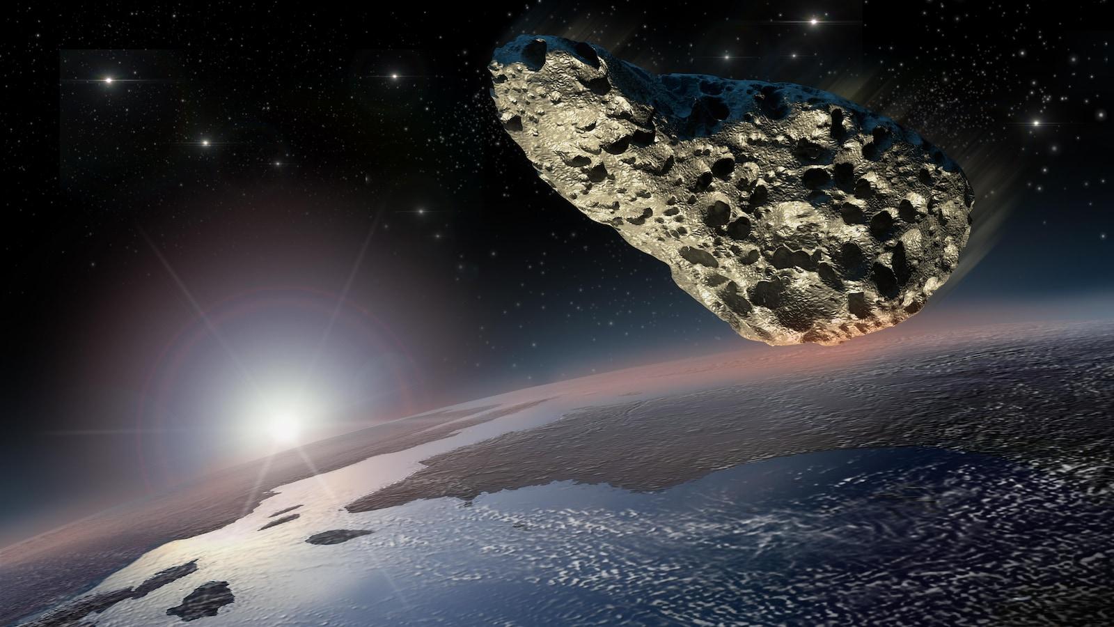 Une météorite dans l'espace près de la Terre