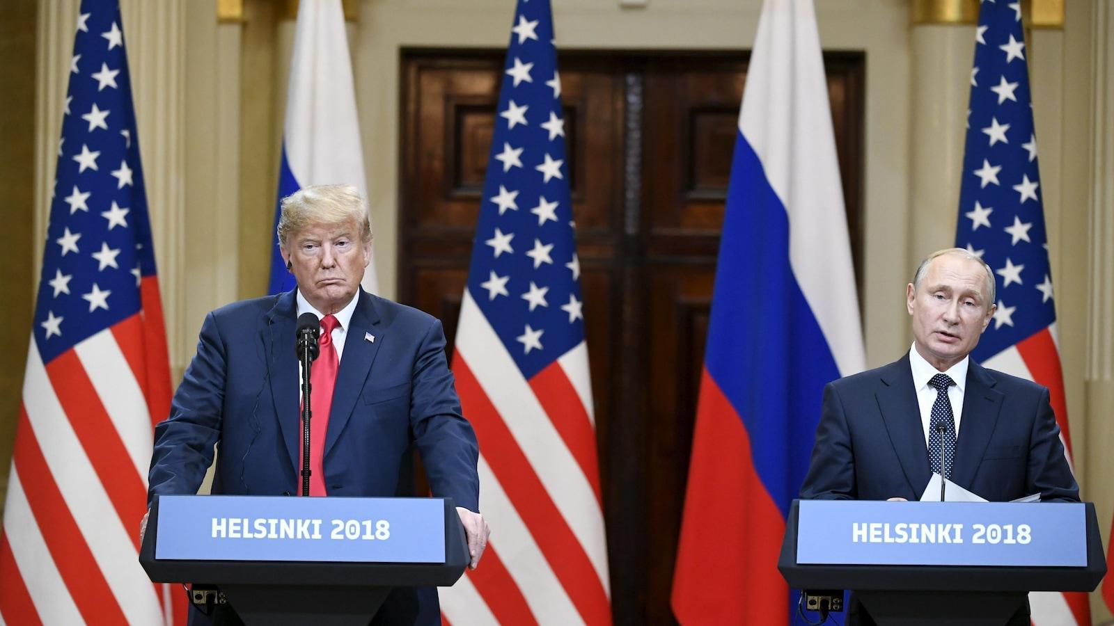 Donald Trump et Vladimir Poutine au sommet d'Helsinki.