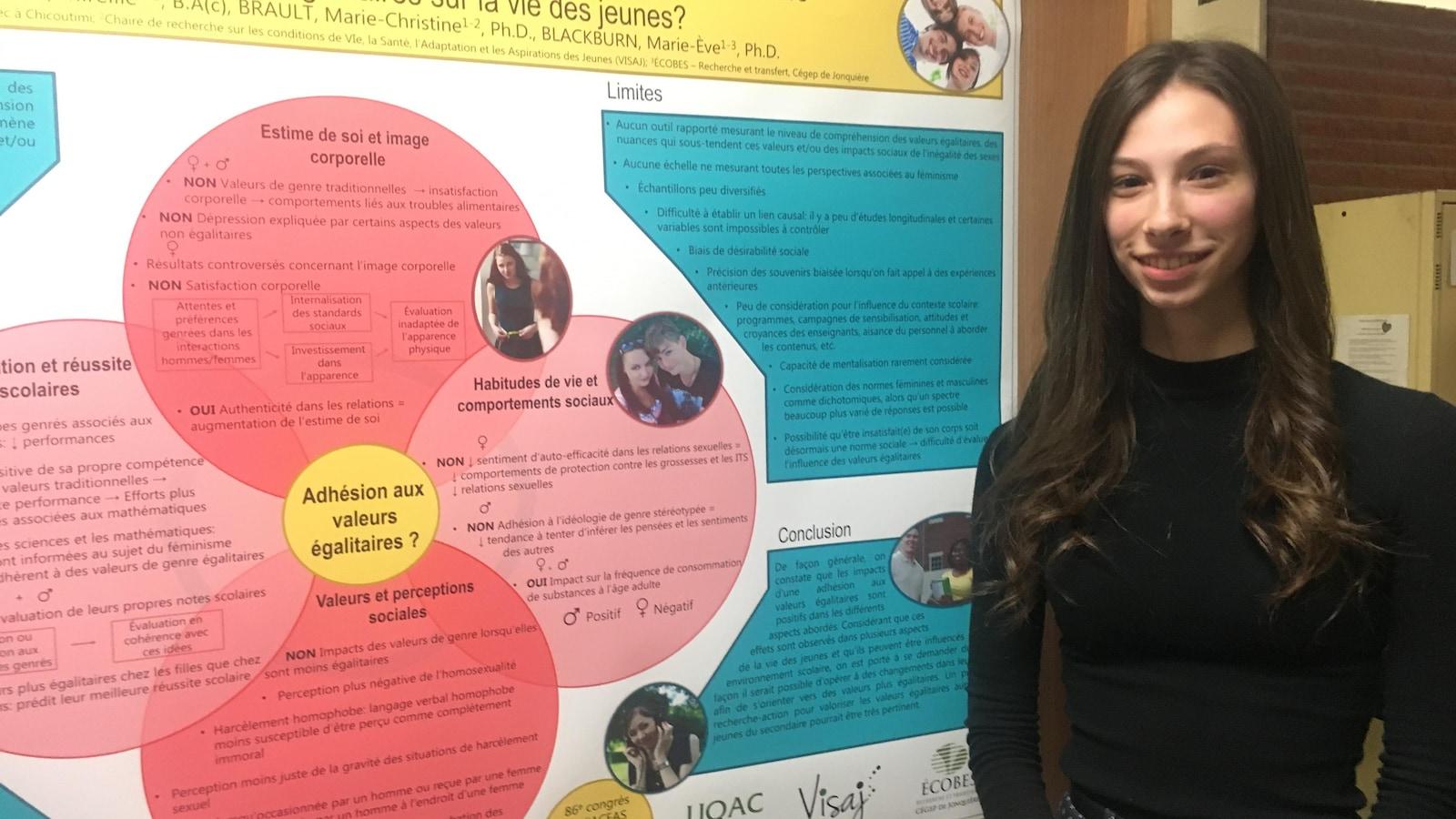 Mireille Jean devant l'affiche explicative de sa recherche.