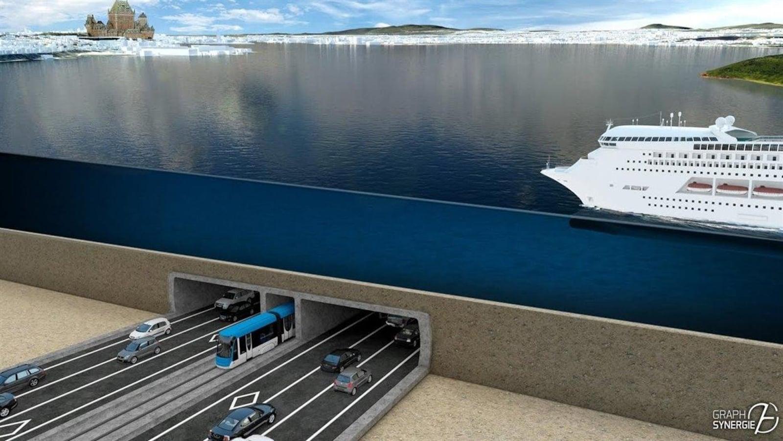 Une projection du tunnel entre Lévis et Québec.