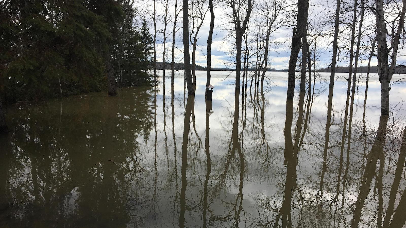 Sonia Paquin qui habite près du lac Beauchastel surveille le niveau de l'eau grâce à une cheminée de foyer extérieur.
