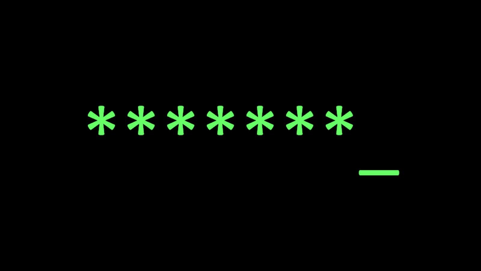 Une capture d'écran montrant une série de sept astérisques verts sur un fond noir.