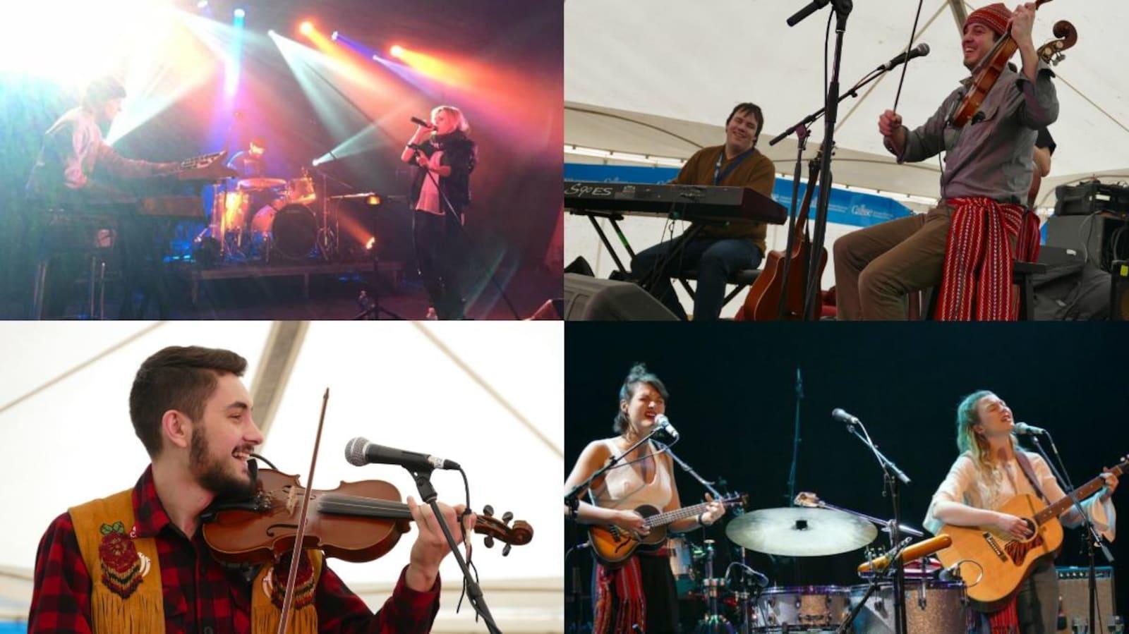 Prestations musicales au 48e Festival du Voyageur - en haut : Laurence Nerbonne (à g.) et Daniel Gervais (à d.); en bas : Michael Audette (à g.) et les soeurs Boulay (à d.)