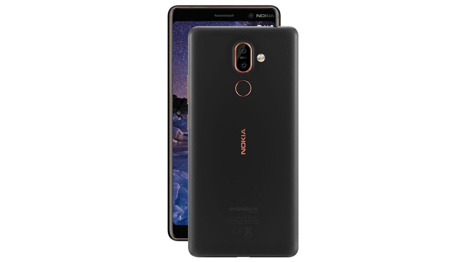 Une photo montrant deux téléphones Nokia 7 Plus, l'un de dos et l'autre de face.