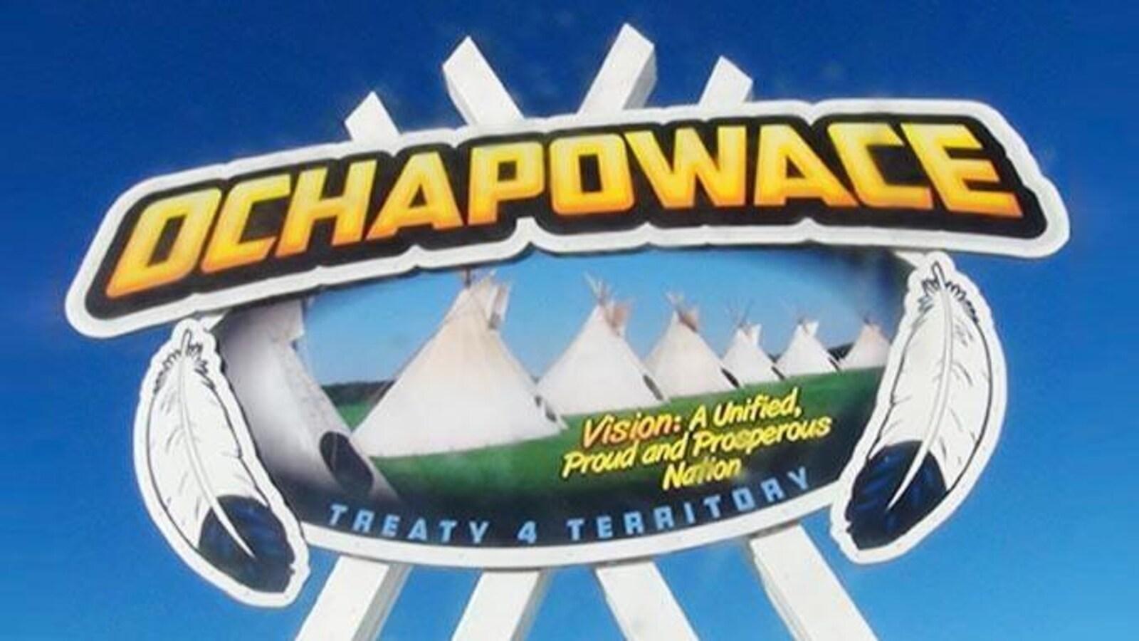 Logo de la Nation Ochapowace, représentant des tipis.
