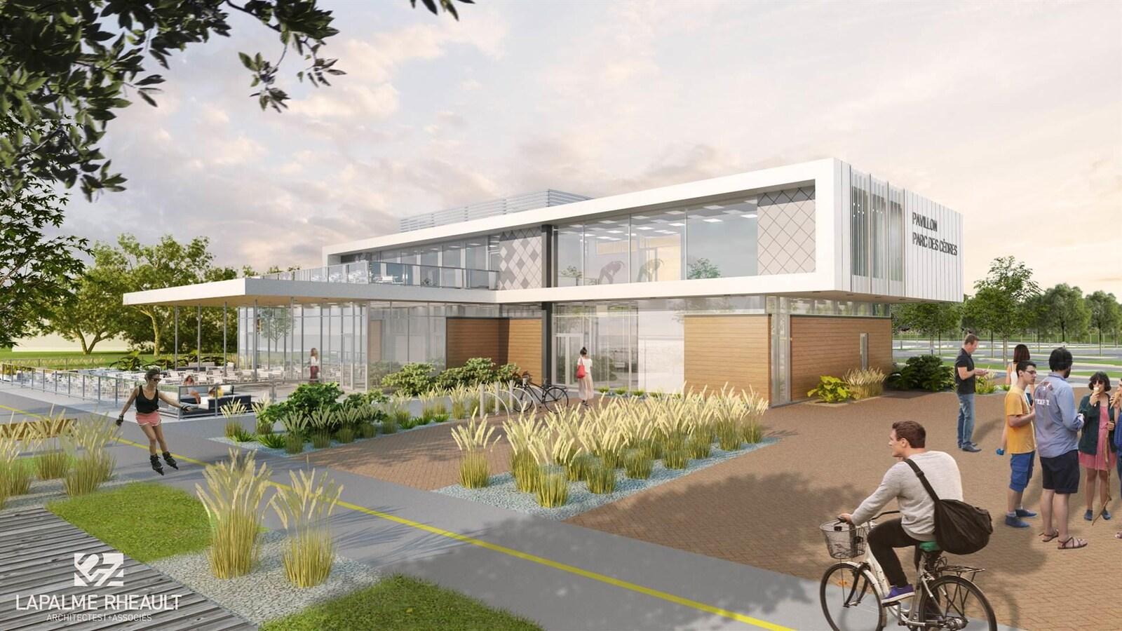 Un dessin qui représente le nouveau pavillon du parc des Cèdres.