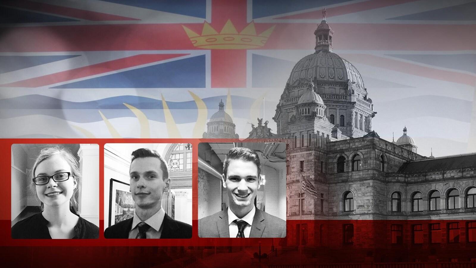 Trois jeunes francophones politisés de la Colombie-Britannique, Emma Dreher, Stéphane Gaudet et Greyden Girouard, devant l'Assemblée législative de Victoria