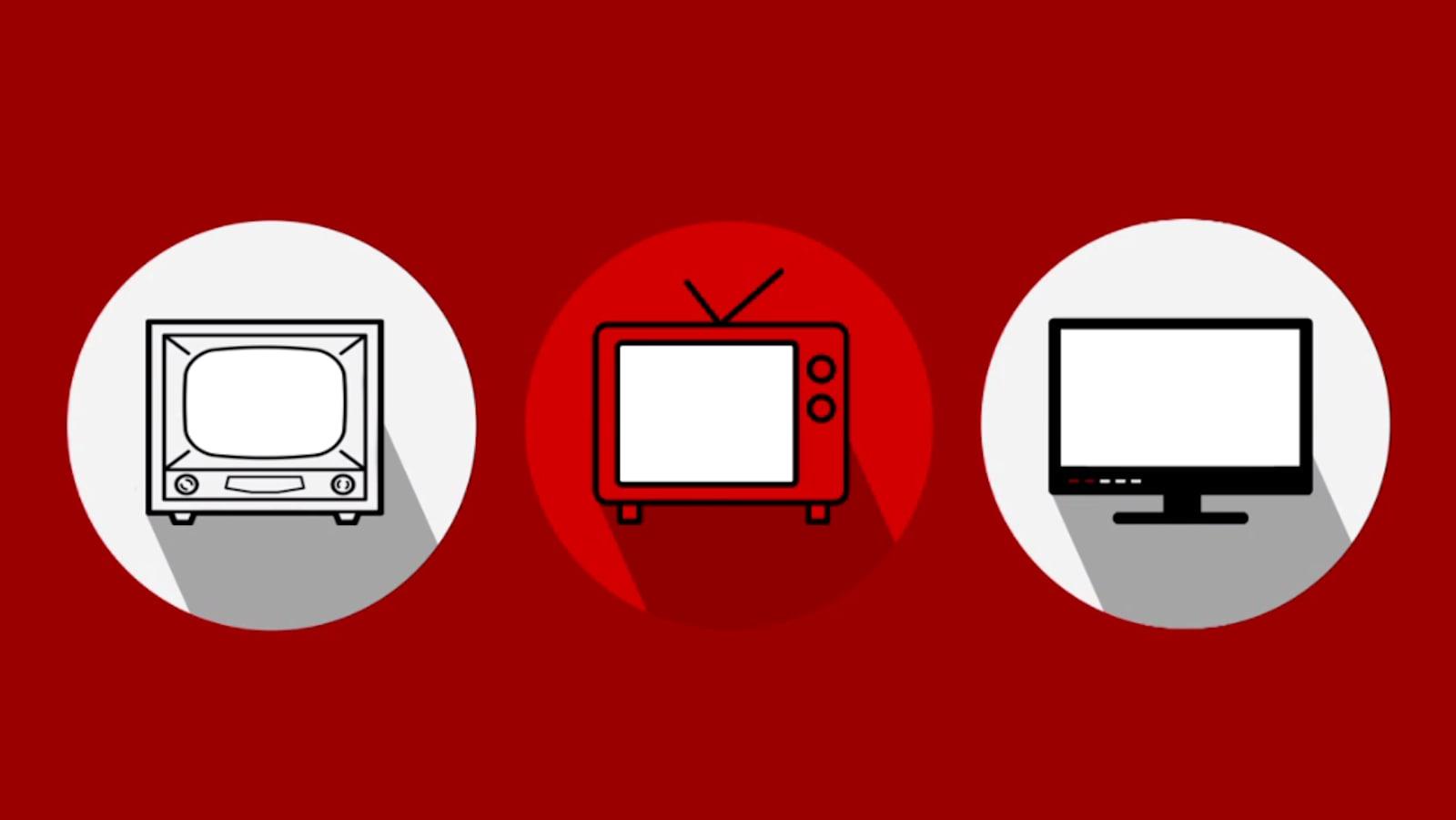 Infographie représentant trois télévisions