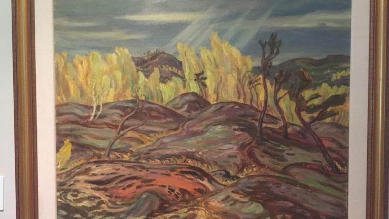 Le tableau Sun Gleams : Autumn, North Saskatchewan, de A. Y. Jackson.