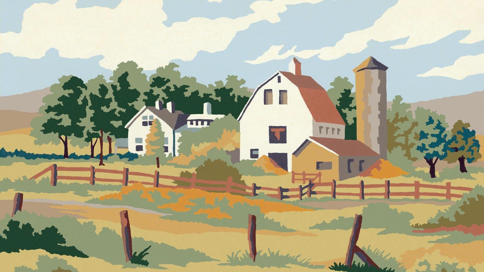 Un tableau représentant une ferme.