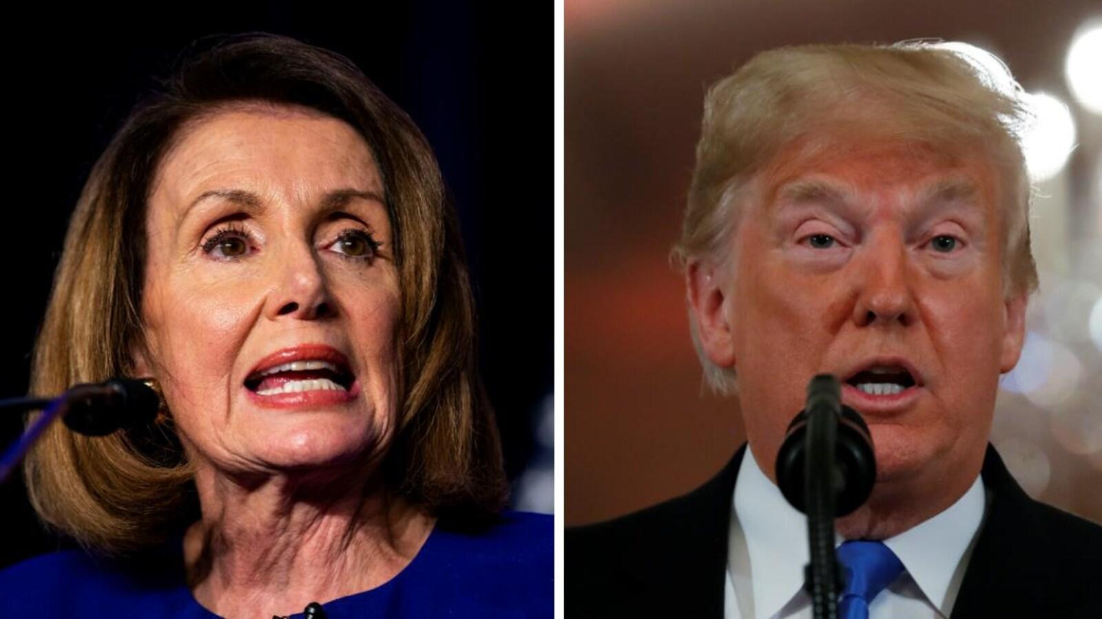 À gauche, la démocrate Nancy Pelosi s'adresse à des militants, tandis qu'à droite Donald Trump répond aux questions des médias lors d'un point de presse.