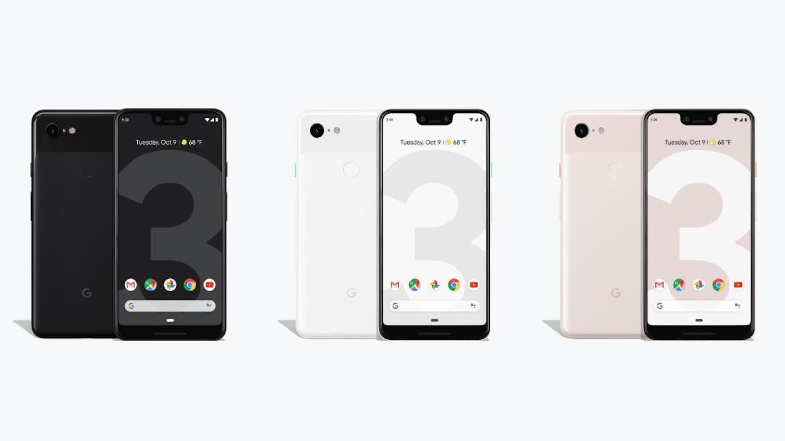 Une photo montrant trois paires de téléphones Pixel 3. La première est noire, la deuxième est blanche et la troisième est rose pâle.