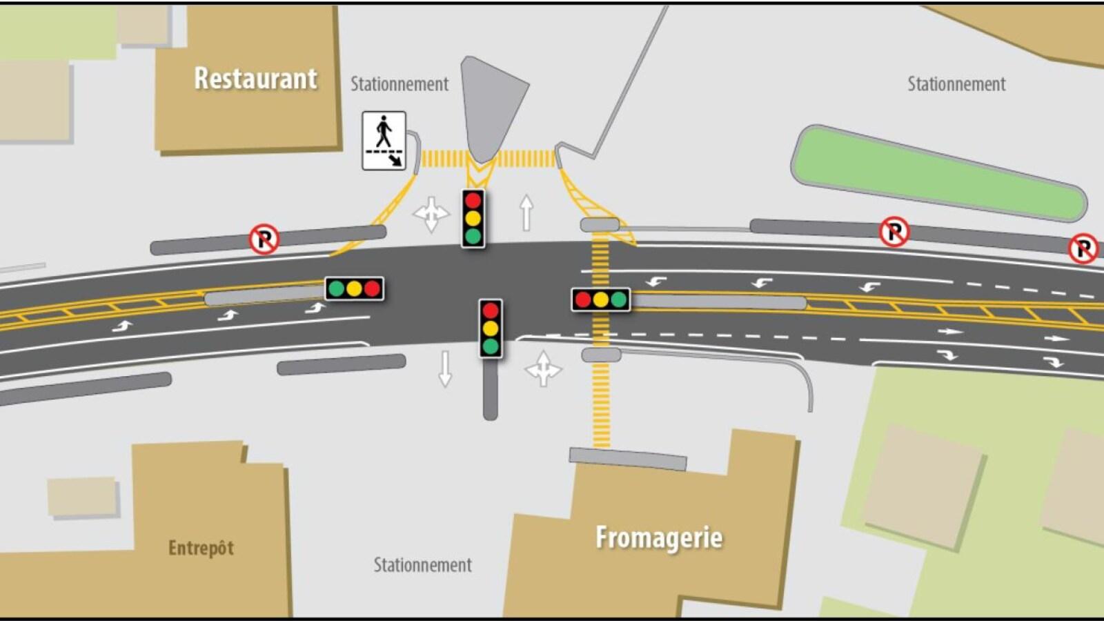 Un plan montrant que 4 lumières de circulation seront installées devant la Fromagerie des Basques.