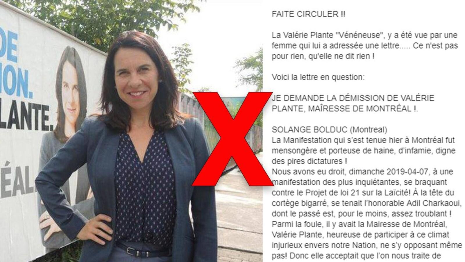 Nous voyons la mairesse Plante, ainsi qu'une lettre ouverte l'accusant d'avoir participé à une manifestation avec Adil Charkaoui.