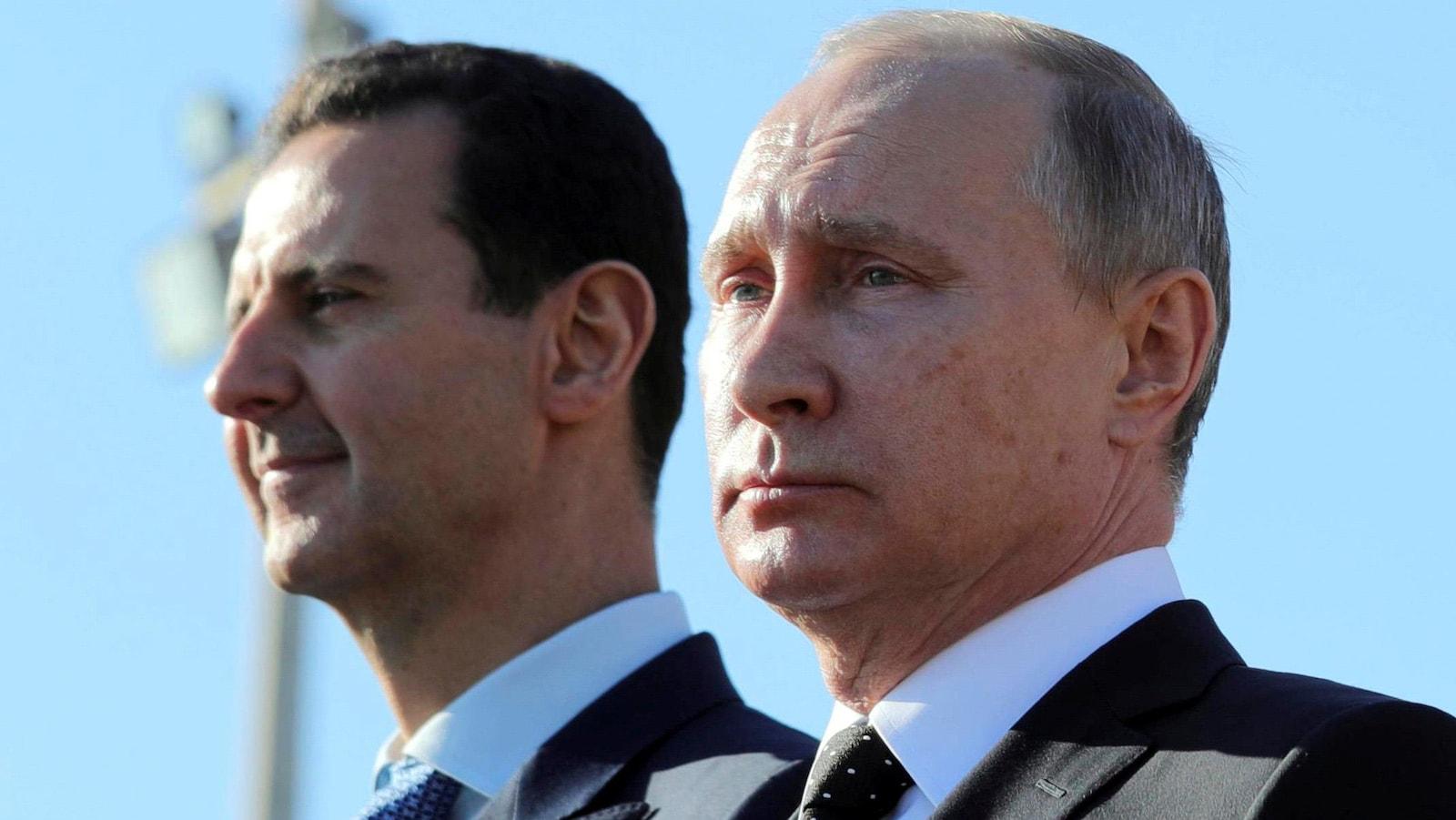 Les présidents syrien Bachar al-Assad et russe Vladimir Poutine.