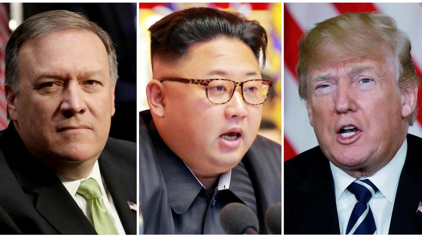Le secrétaire d'État américain Mike Pompeo, le dirigeant nord-coréen Kim Jong-un et le président américain Donald Trump