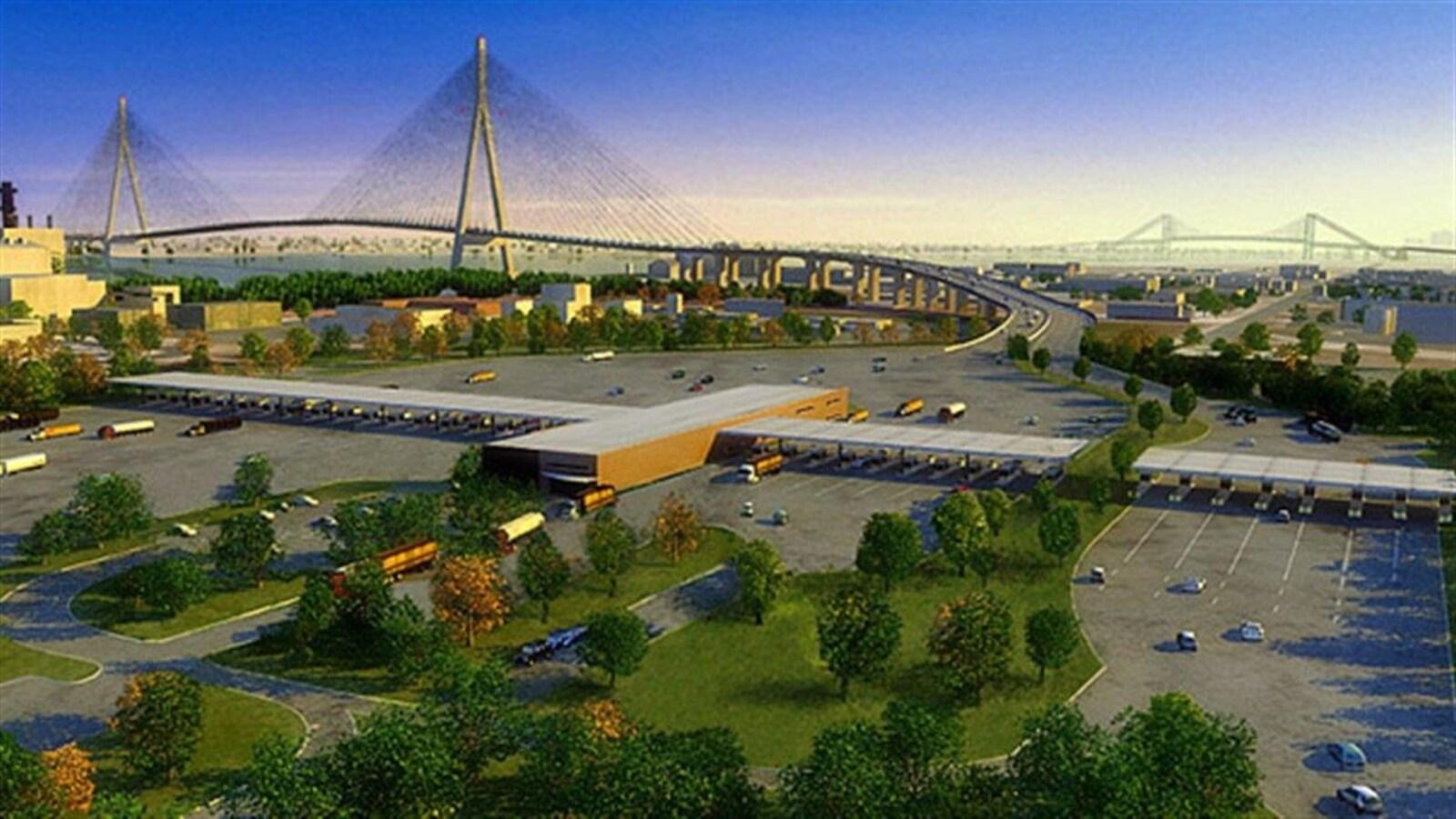 Dessin du concept de pont avec le poste frontière