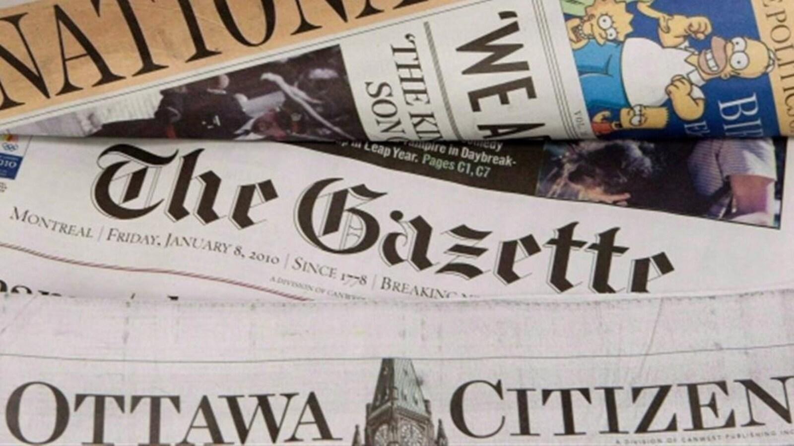 Des journaux appartenant à Postmedia