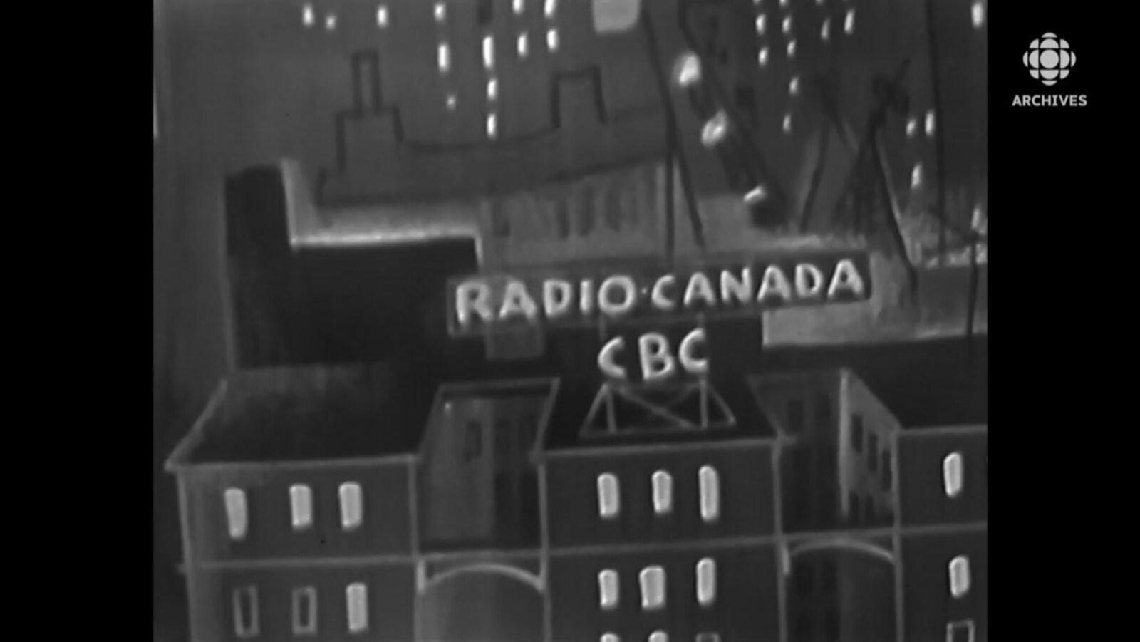 Dessin illustrant le centre-ville de Montréal avec en premier plan l'édifice de Radio-Canada et de CBC.