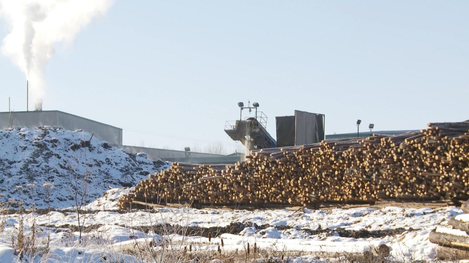 L'usine de Produits Forestiers Résolu de Senneterre avec, aux devants, une centaine d'arbres coupés empilés.