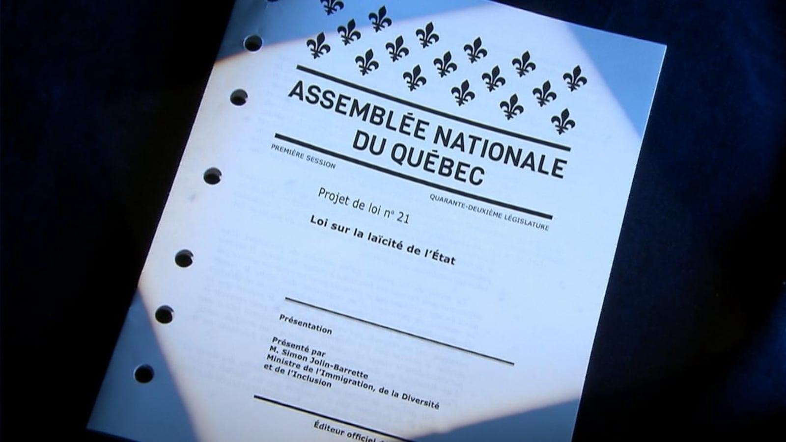 Image de la couverture du projet de loi déposé par le ministre Simon Jolin-Barrette à l'Assemblée nationale.