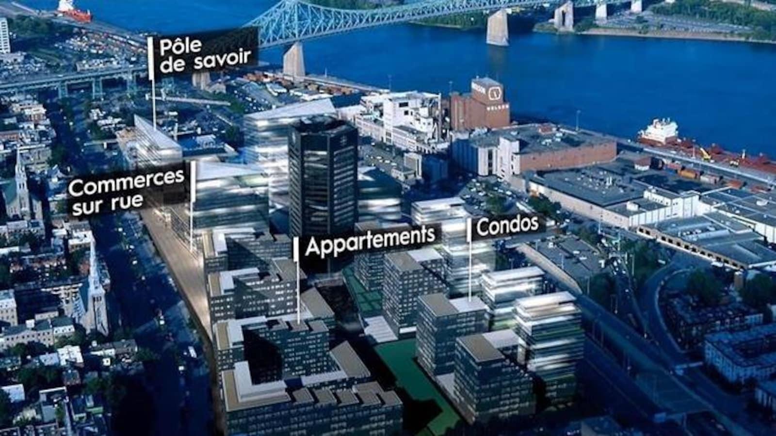 Vue en perspective d'un projet immobilier sur le site de Radio-Canada à Montréal.