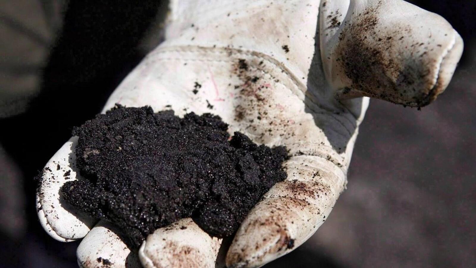 Une poignée de sable bitumineux dans un gant de travail.