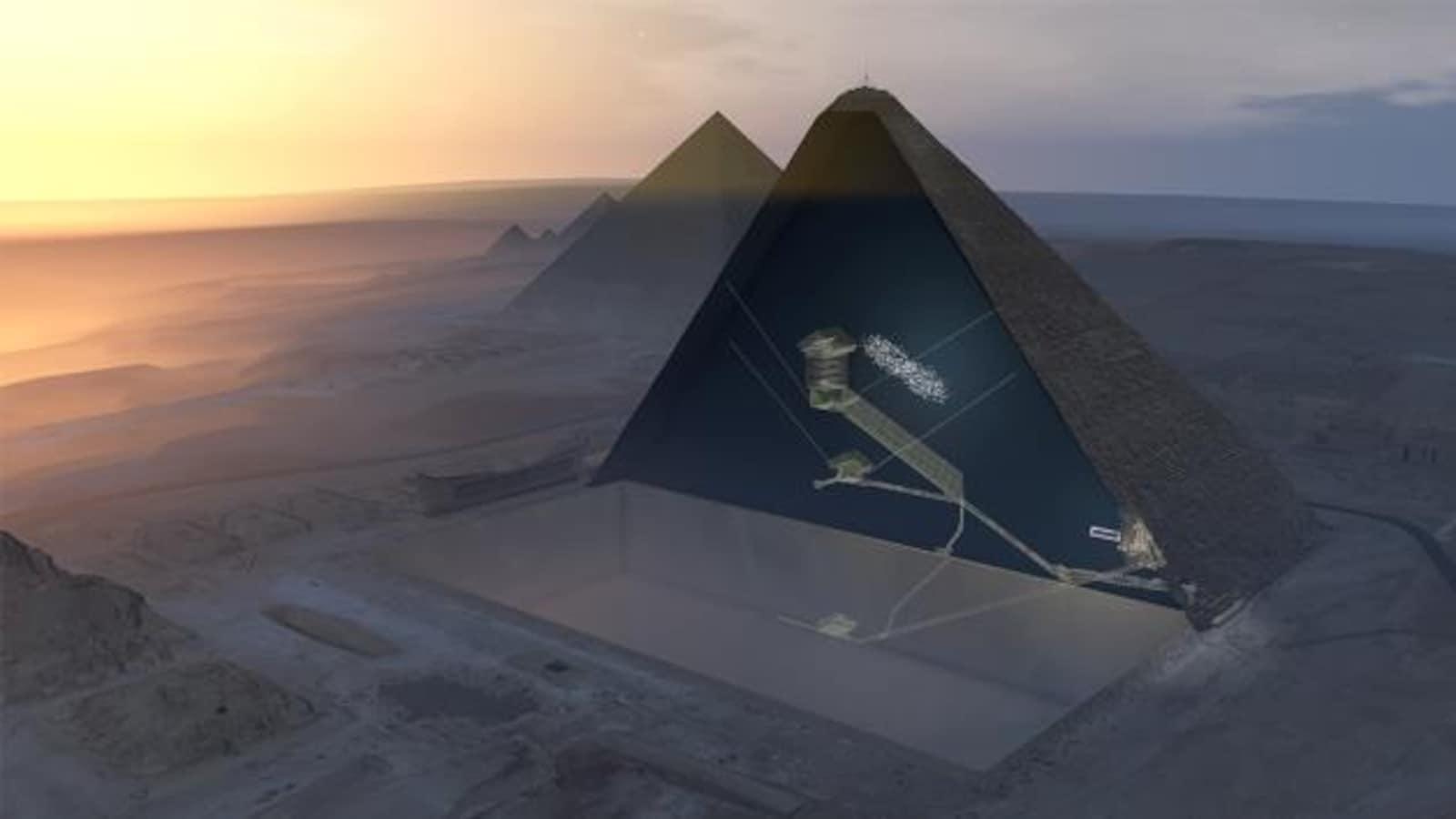 Représentation numérique de la salle découverte dans la pyramide de Khéops. Il s'agit de la zone grisée un peu à droite du centre du monument.