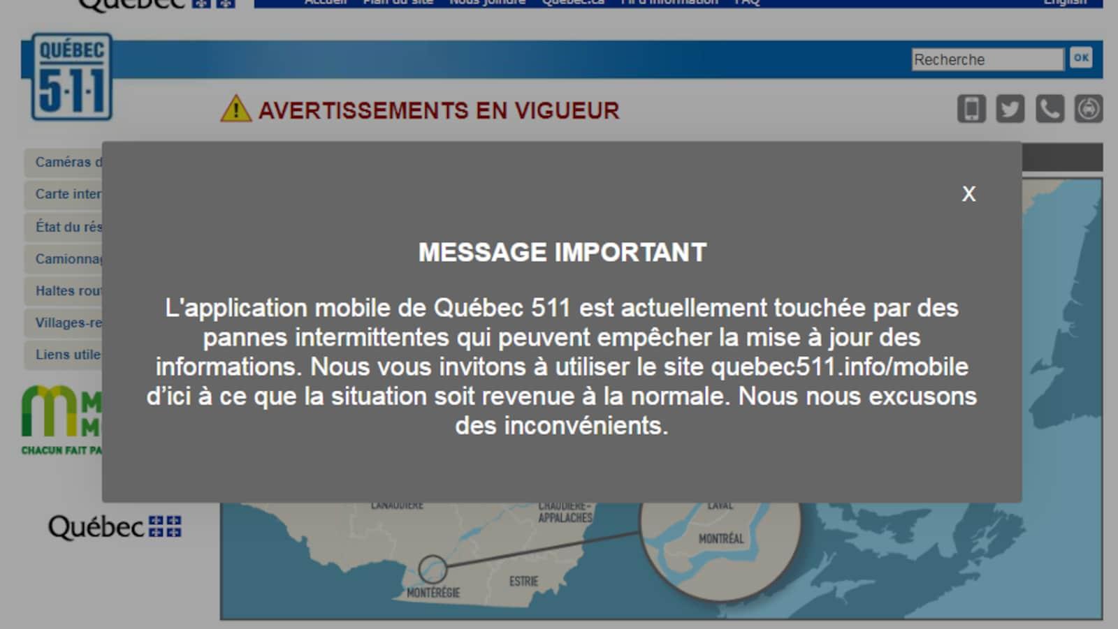 Message ajouté à la page Web principale du MTQ.