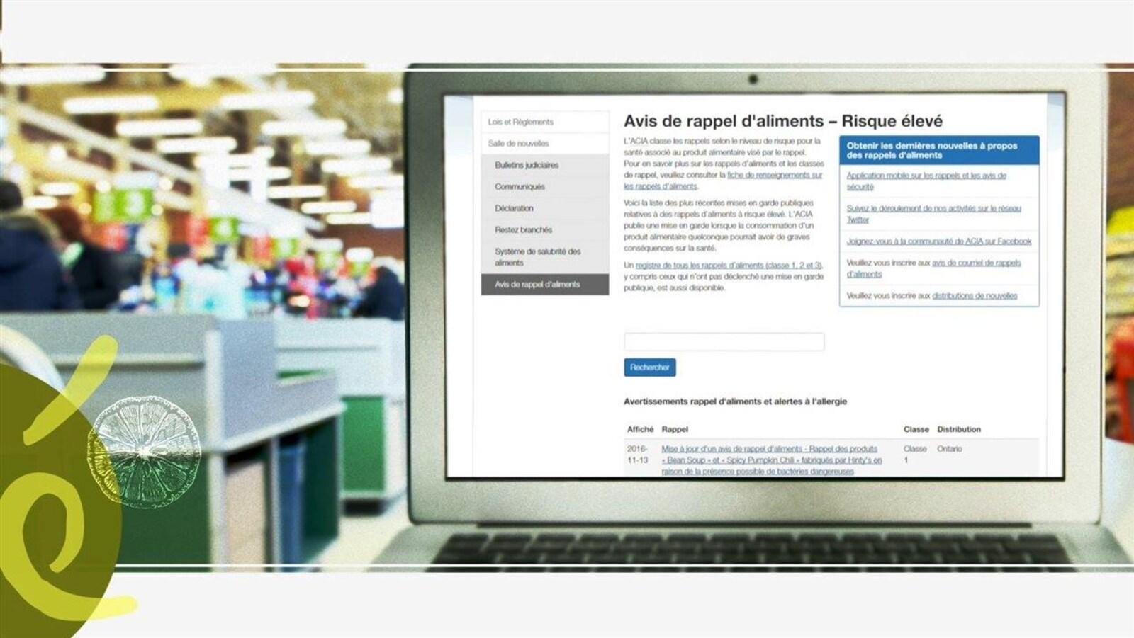 Un écran d'ordinateur dans une épicerie affiche un formulaire portant sur le rappel d'aliments.