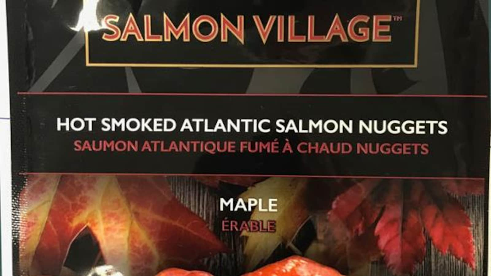 Pépites de saumon fumé à l'érable de marque Salmon Village, format de 150 g.