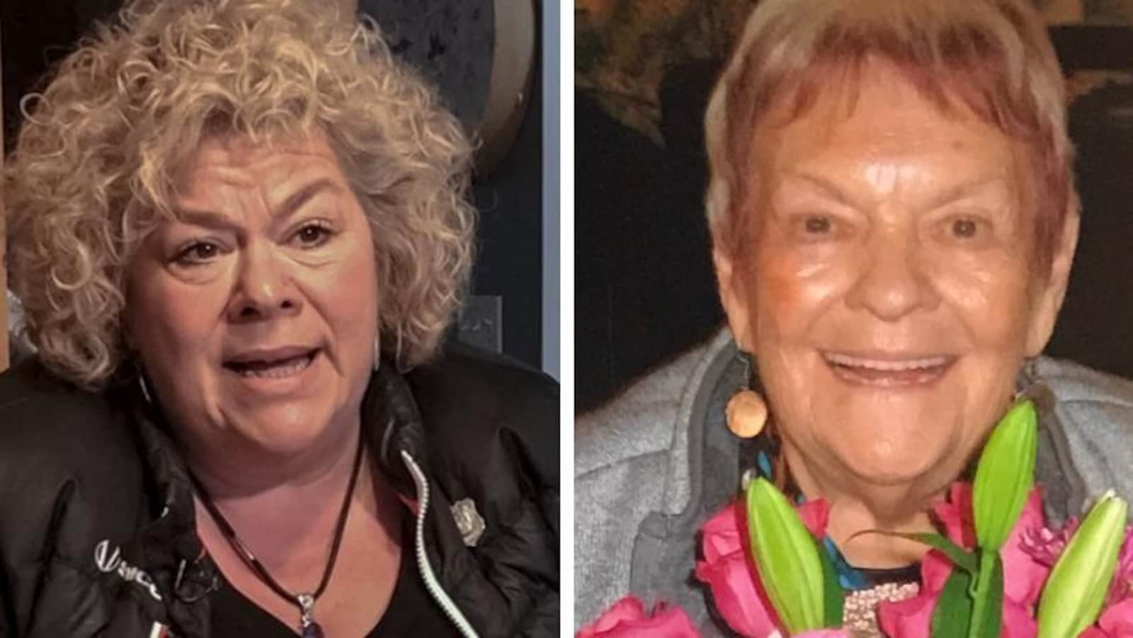 Un collage de deux photos. À gauche: une femme aux cheveux blonds et bouclés. À droite, une femme âgée souriante qui tient un bouquet de fleurs.