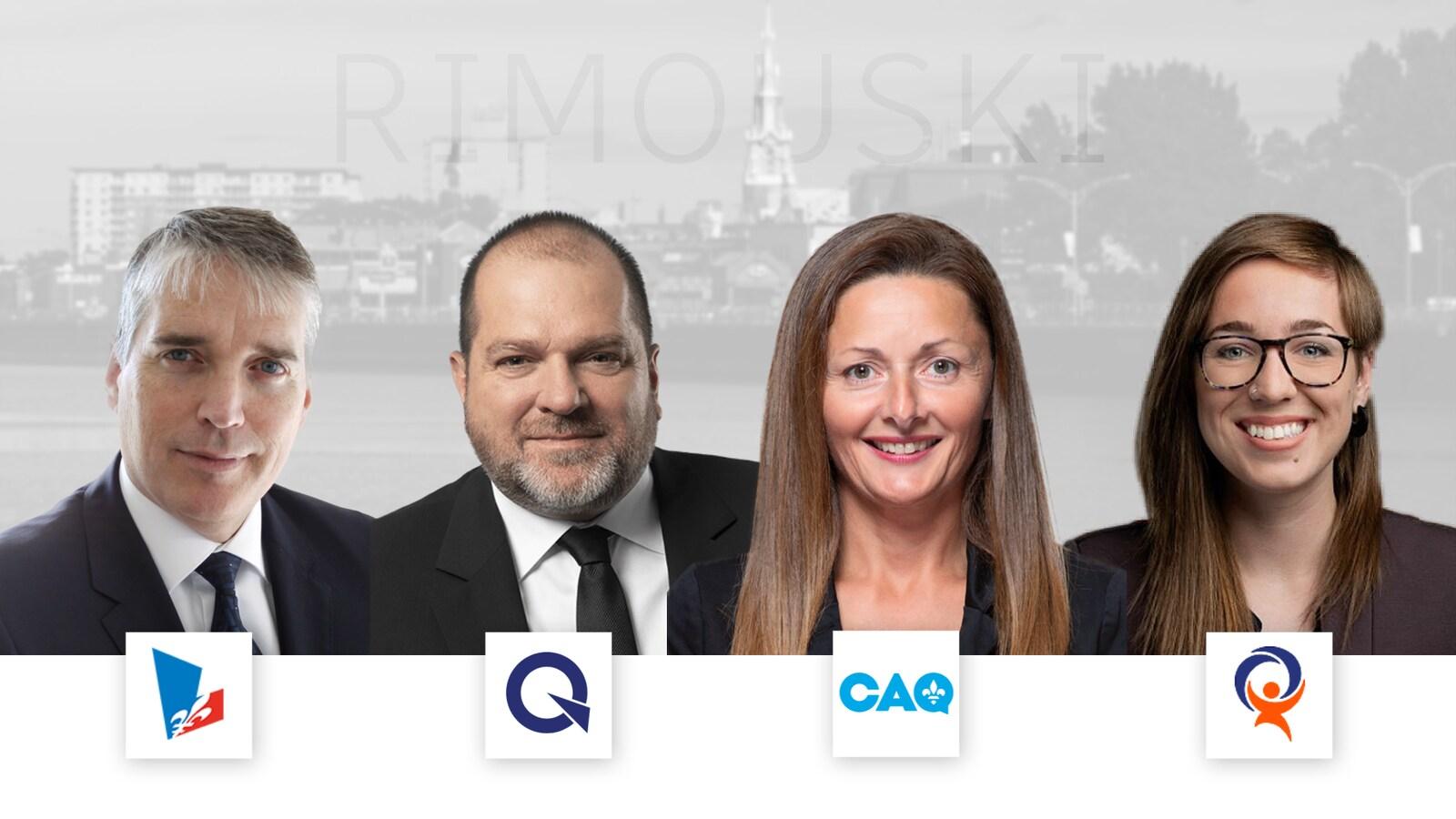 Montage photo avec les visages des candidats et les logos des partis politiques sous les visages.