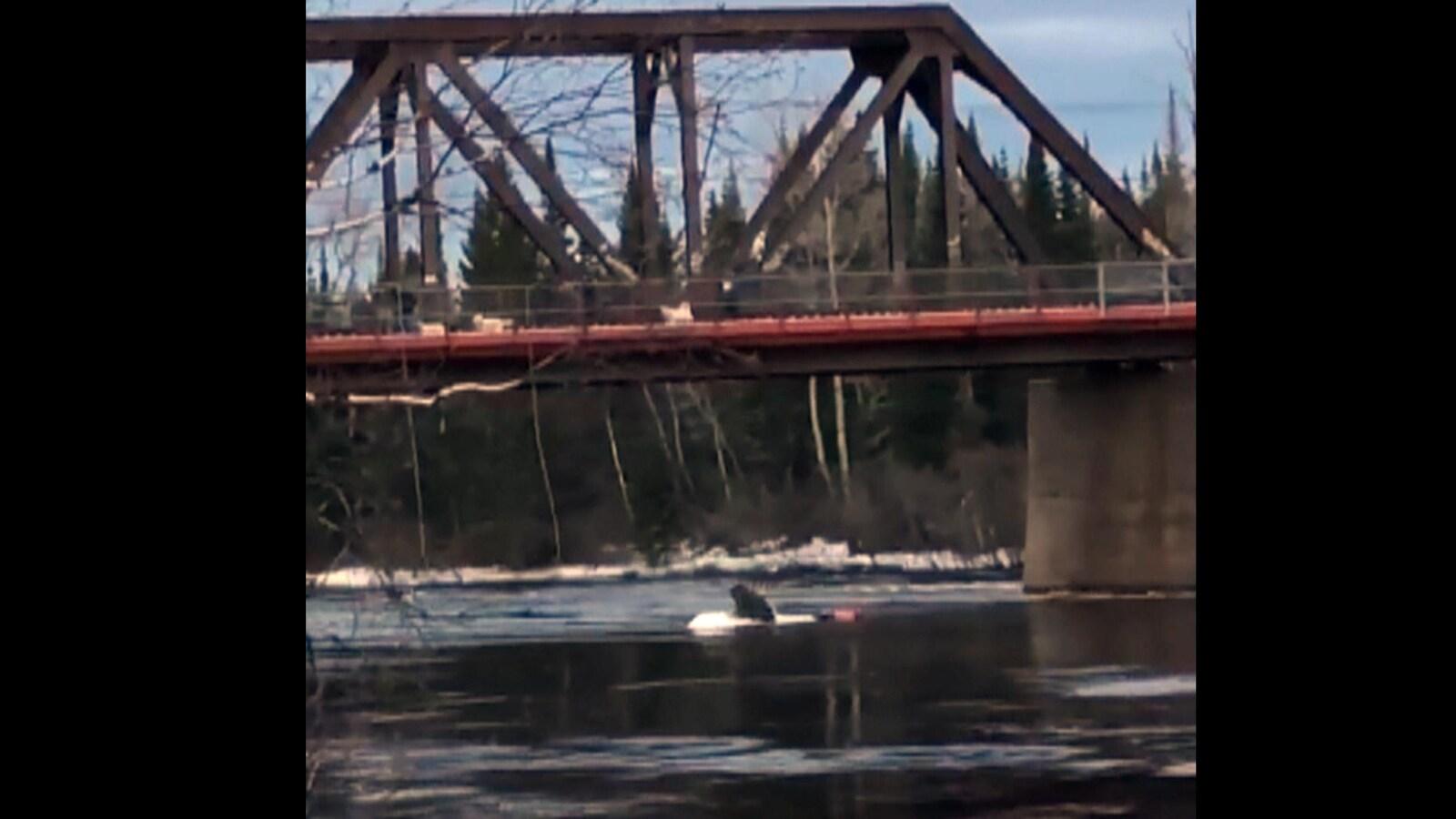 Homme sur un bateau renversé dans la rivière