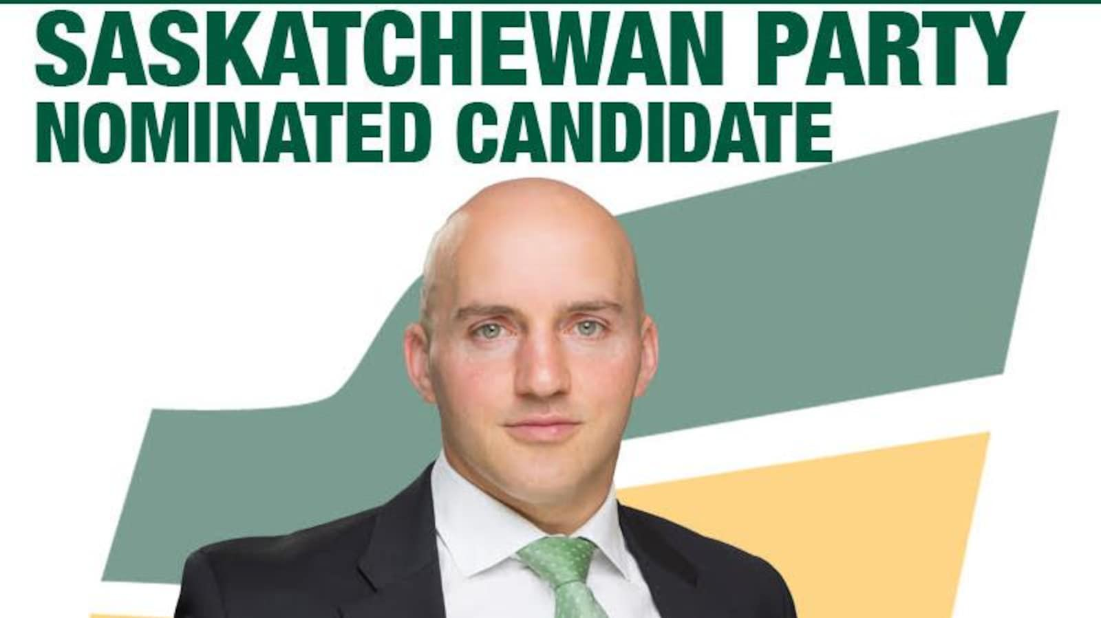Une affiche du Parti saskatchewanais avec la photo de Rylund Hunter.
