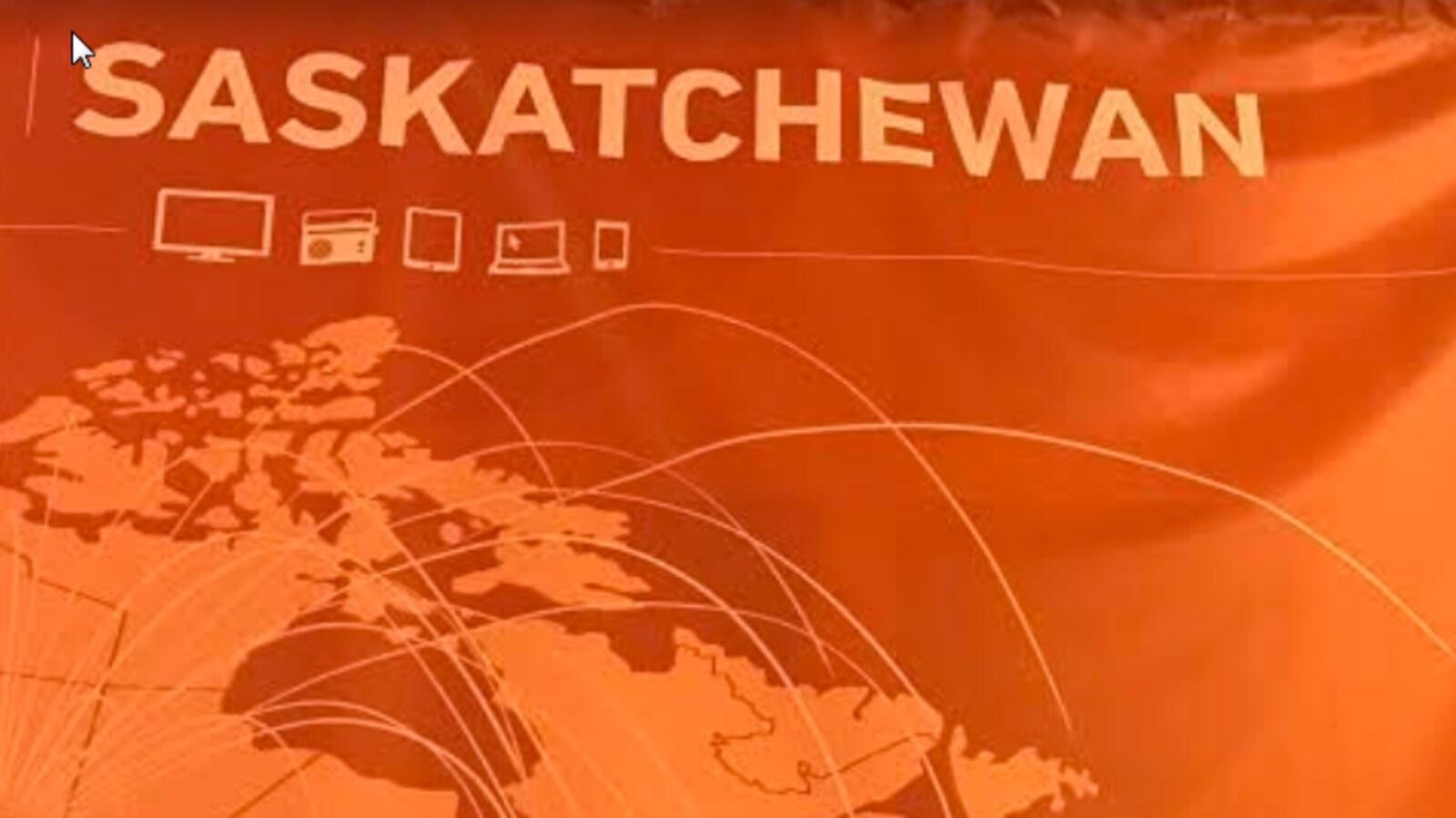 Une Banderole orange avec le mot Saskatchewan et des motifs d'une carte du Canada.