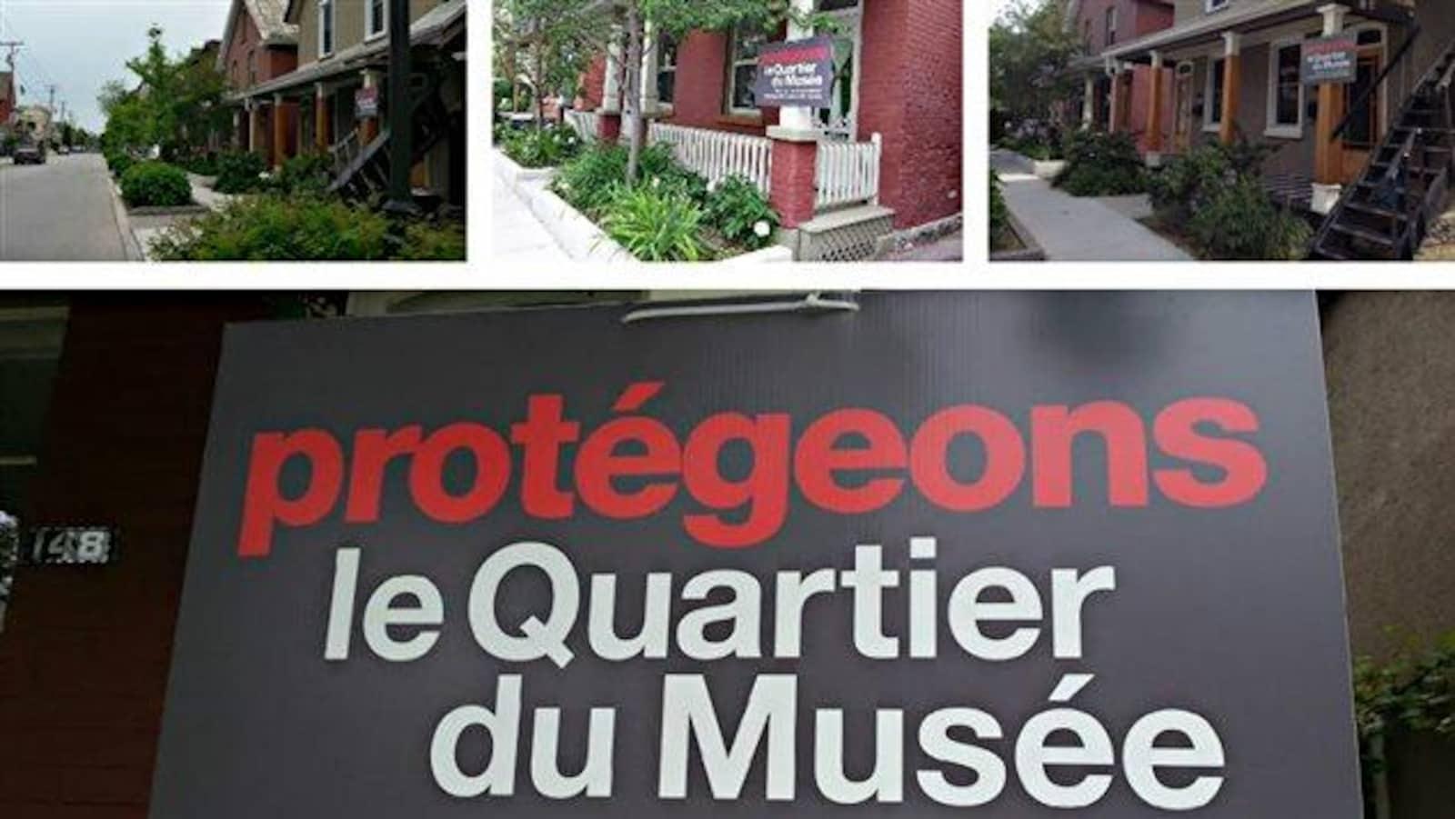 On peut lire en grosses lettres en rouge : protégeons et en blanc le Quartier du Musée