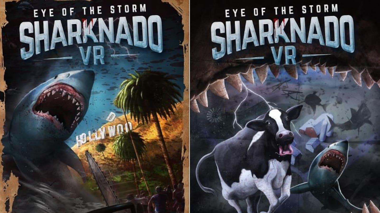 Deux affiches du jeu vidéo Sharknado côte-à-côte. À gauche, une tronçonneuse face à un requin. À droite, une vache vue de la gueule d'un requin.