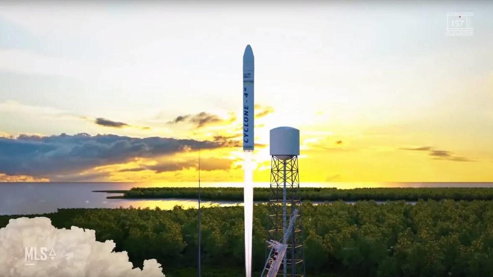 Lancement d'une fusée ukrainienne Cyclone-4M sur une capture d'écran d'une simulation vidéo.