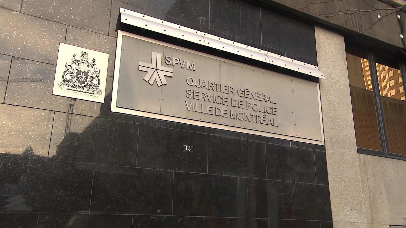 Façade du quartier général du Service de police de la Ville de Montréal (SPVM), au centre-ville de Montréal.