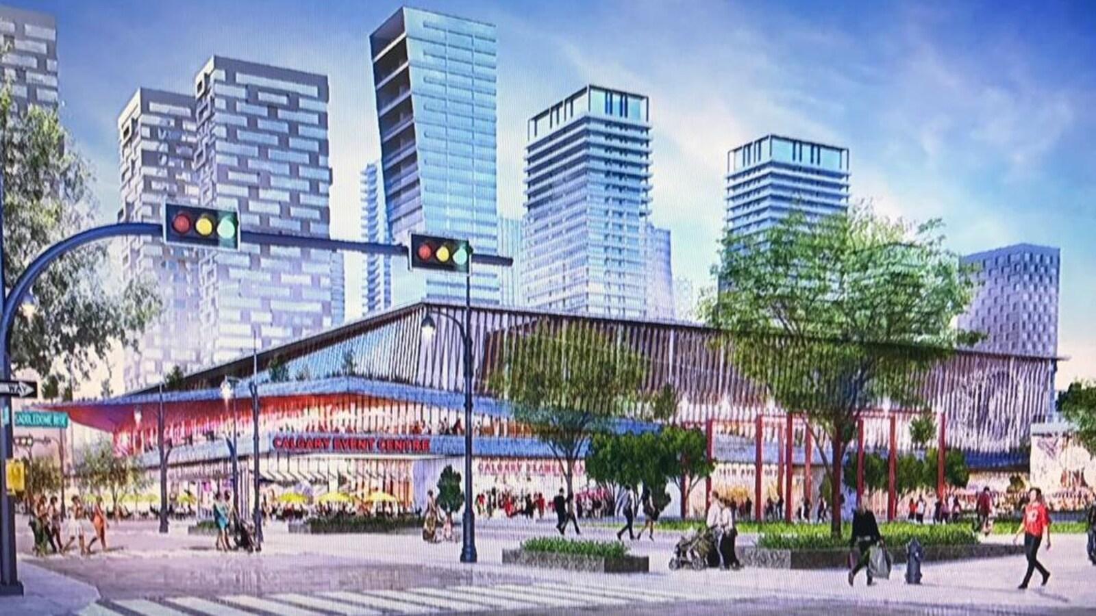 Un dessin du nouveau stade entouré de piétons et de gratte-ciels.