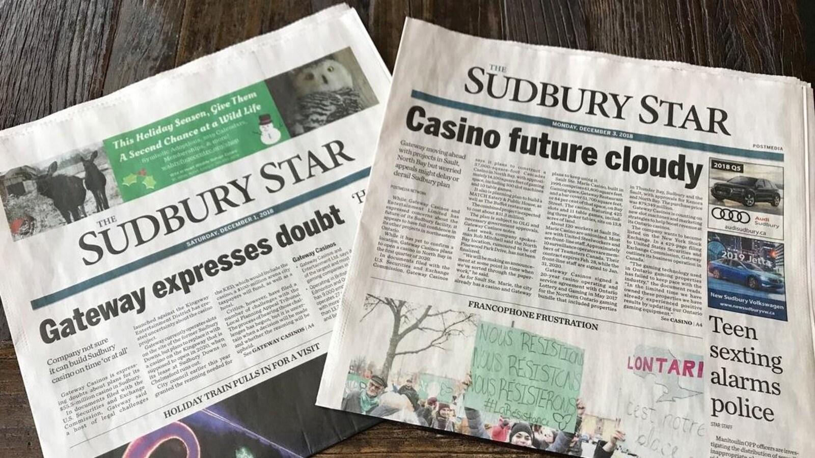 Deux éditions du Sudbury Star